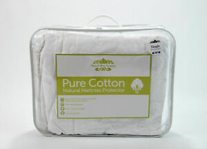 Premium 100% Natural Pure Cotton Luxury Quilted Mattress Protector Bed Cover