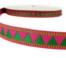 "2 Yds Watermelon Pink Green Triangle Woven Jacquard Ribbon Trim 5/8""W"