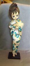 RARE Vtg Mid Century Soft Sculpture Bradley Japanese Geisha Girl Big Eyes DOLL