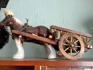 Pottery Shire Horse and Wooden Cart.