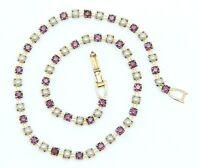 "Vintage Purple Rhinestone & Faux Pearl Necklace Estate Jewelry 14"""