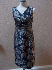 MINUET NAVY BLUE & SILVER FLORAL SHIFT DRESS - UK SIZE 10