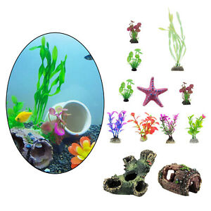 12pcs Aquarium Ornament Artificial Plant Landscaping Fish Tank Hiding Cave