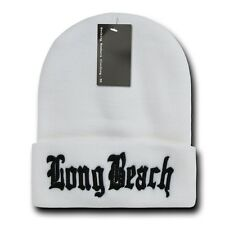 "Solid White Long Beach LBC Embroidery 12"" Long Cuffed Vintage Beanie Beanies"
