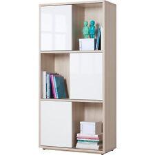 Libreria sei vani tre ante scorrevoli frassino laccato bianco LB2225 L90h186p40
