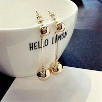 14K Yellow Gold Over Women Bling Ball Earrings Long Chain Drop Dangle Earrings