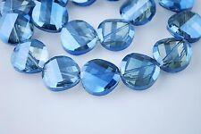 Bulk 10pcs Blue Transparent Glass Crystal Twist Tile Beads 14mm Spacer Findings