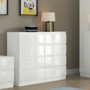 White High Gloss Bedroom Chest 8 Drawers Large Modern Furniture No Handle Design