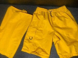 Athletic Works Convertible Pants Shorts Sz M  Drawstrings Yellow Cargo Shorts