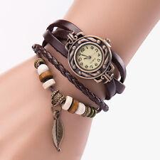 Women Girl Vintage Watches, Bracelet Wristwatches leaf Pendant Coffee Elegant