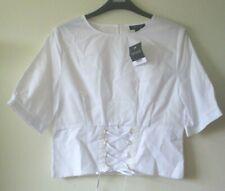TOPSHOP BLOUSE Top  WHITE CORSET Shirt Cotton Ribbon Ties Peephole Sz 10 NEW