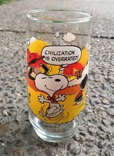 """McDonald's Camp Snoopy Peanuts Glass """"Civilization is Overrated"""" Schulz 1971"""
