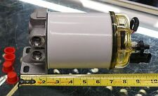 DIESEL ENGINE FUEL WATER FILTER SEPARATOR 4-PORT 1/2 SAE HOUSING 90 GPM 10 MICRN