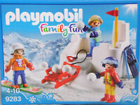 PLAYMOBIL 9283 Schneeballschlacht Kinder Schlitten Ski Snowboard Burg NEU