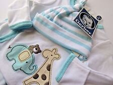 Gerber Baby Boy 3 Piece Long Sleeve Footed Mitten Layette Gift Set NB