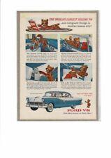VINTAGE 1955 FORD CROWN VICTORIA FAIRLANE V8 SEAT BELT BEAR AD PRINT