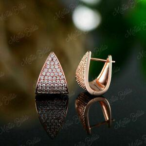 0.80Ct Round Cut D/VVS1 Diamond Hoop Clip On Earrings In 14K Rose Gold Finish
