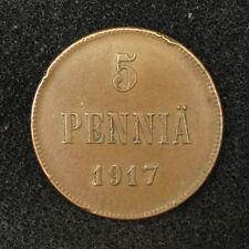 1917 5 PENNIA OLD FINNISH / RUSSIAN IMPERIAL COIN. ORIGINAL. NIKOLAI II