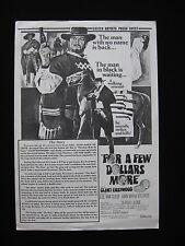 FOR A FEW DOLLARS MORE 1966 Original Australian press sheet Clint Eastwood Leone