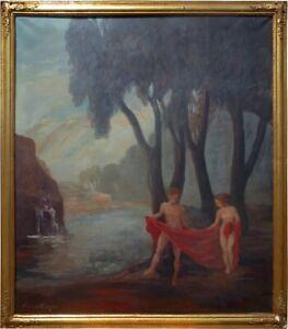 "S1438 - Großes Gemälde ""Badeszene"" von August ERLACHER (1873 - 1956)"