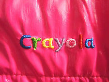 CRAYOLA artist vinyl toddler vest 3T hot-pink girls embroidery retro art crayon