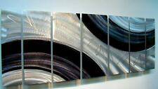 Large Silver/Black Abstract Metal Wall Art Painting - Modern Decor by Jon Allen