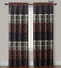 2  Pc. Brown, Burgundy & Taupe Window Curtain Panels: Faux Silk, Stripe, 80x84