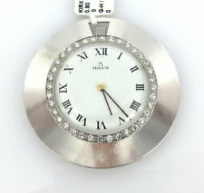 White Gold Slim Pocket Watch Vintage Milus 1.0ct Diamond & 18K