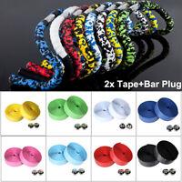 2X Bicycle Road Bike Cork Handlebar Tape Rubber Foam Belt Wrap Grip w/2 Bar plug
