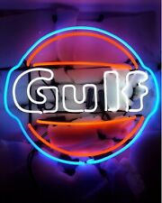 "New Gulf Oil Gas Gasoline Beer Bar Neon Light Sign 24""x24"""