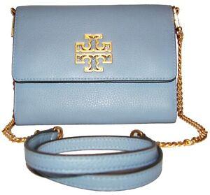 TORY BURCH Britten Chain Blue Cloud Leather Chain Purse Crossbody Wallet NWT
