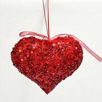 "Pier 1 Red Beaded Glitter Heart Ornament Valentine's Day 4"""