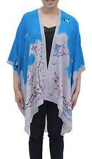 Cherry Blossom Silk Long Kimono Jacket Oversized One Size Plus  NWT