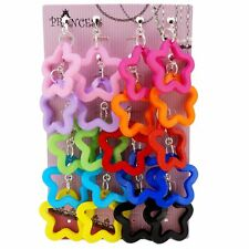 Candy Colorful Star Outline Dangle Clip on Earrings Color Set Teen Girl Womens