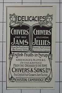 CHIVERS & SONS LTD Histon Cambridge Jams & Jellies ~ Vintage 1905 Advert