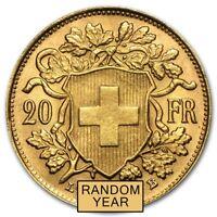 Swiss Gold 20 Francs Helvetia Coin AU (Random Year) - SKU #151896