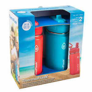 2-pack 16oz Stainless Steel Water Bottle Blue and Red or Violet and Orange