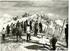 France, Alpes, skieurs à Chamonix Vintage silver print Tirage arge