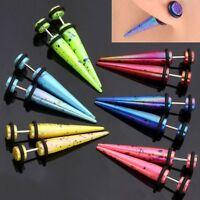 Pair Rainbow Stainless Steel Taper Fake Cheater Gauge Ear Stud Plugs Expander-CA