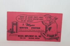 Vintage Ink Blotter MEYERS Water System Hessel Implement Co. Gresham Oregon