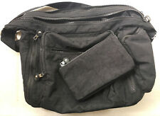 Black Zipped Shoulder Bag With Adjustable Strap & Matching Zipped Pouch