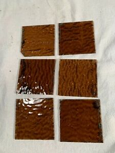6 matching Antique Vintage Amber Stained Glass Lamp Panel Pieces 3&1/8in wide