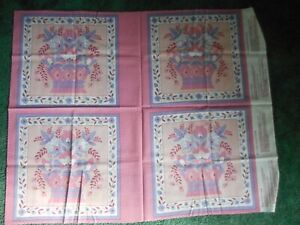 Panels, pink, lavender, white flowers in baskets 1 piece, 4 panels