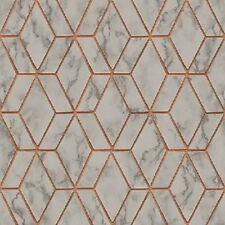 Tapete, Designtapete, Marmor, Geometrisch Retro, Schimmer, Stein, Kupfer,