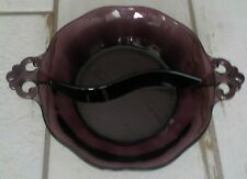 """Vintage Purple Glass Candy Dish 8"""" with divider"""