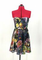 Forever New Black/Floral Sleeveless Short Silk Fit/Flare Party Dress Size 12 VGC