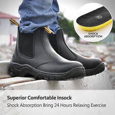 Warm Safety Work Boots Mens Steel Toe Black Leather Water Resistant Slip on
