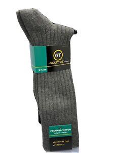 Gold Toe Men's Dress Socks Premium Cotton Navy/Brown/Grey 3 Pack New