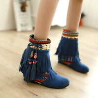 Fashion womens boho tassel ankle boots hidden heel pull on sweet shoes US4-11