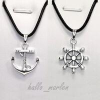 ❤️❤️ 2 x PARTNER KETTEN mit Anhänger Ruder und Anker LOVE Liebe Necklace Pendant